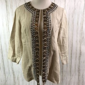 Chicos Size 0 100% linen beaded Embellished jacket